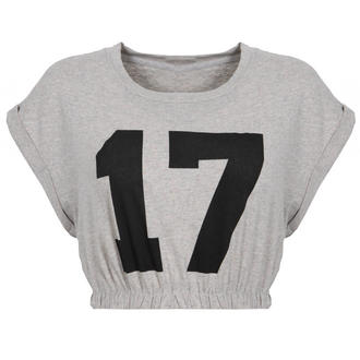 View Item Grey Number Print Crop Top